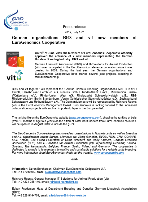Press Release - July 2019 - New members BRS and VIT