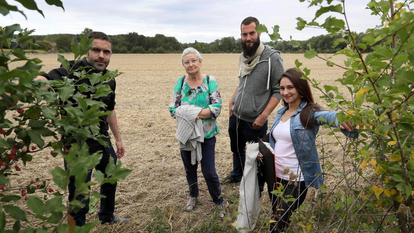 Les Planteurs volontaires (ici, Allan Guillou, Marie-France Wojciechowski, Thierry Luisin et Jennifer Charon) ont œuvré pour planter 36 000 arbres sur une parcelle du lycée agricole Wagnonville à Douai. Photo Matthieu Botte - VDNPQR