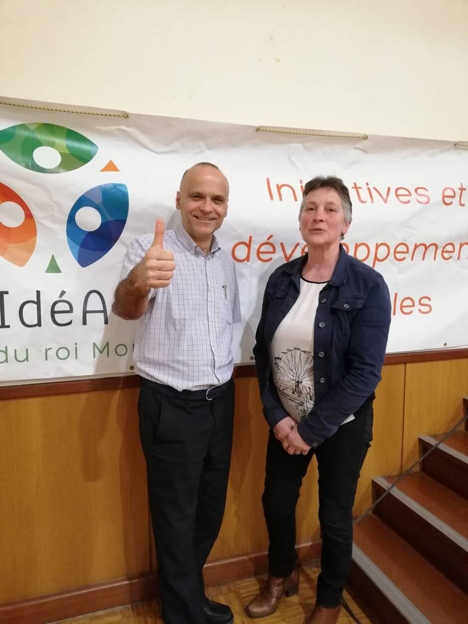 Nicolas Fabre, directeur des Volailles de Keranna et Patricia Perret, presidente d'IdeA | OUEST-FRANCE
